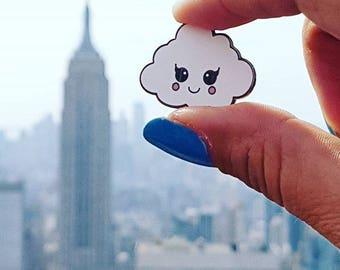 Cute cloud enamel Kawaii pin | Cloud lapel pin kawaii hard enamel | White cloud kawaii pin badge | Cute gift for her | Pin Cloissone revers