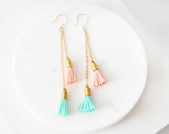 Tassel Earrings, Dangle Earrings, Drop Earrings, Gold Drop Earrings, Gold Tassel Earrings, Long Earrings