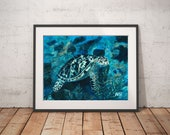 "Sea turtle, Aquatic life print, Prints daughter gift, Guest room decor, Turquoise water art print, Sea art gift,""Sea turtle, French Cay"""