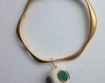Golden bangles bracelet with indian dangle charm
