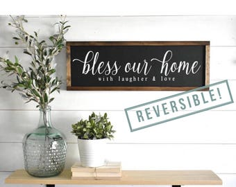 Bless our Home Sign | As For Me and My House We Will Serve the Lord Sign | Joshua 24:15 Sign | Scripture Sign | Two-Sided Reversible Sign