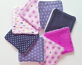 Lot de 8 lingettes demaquillantes / debarbouillantes lavables dans les tons rose et violet