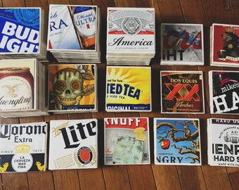 Ceramic Coaster Set / MIX & MATCH beer Coasters / Beer Lover Gift / Home Decor / Bar Decorations / Man Cave Decor / Set of 4 Coasters