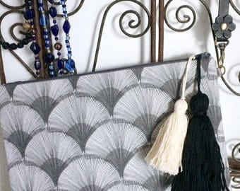 Clutch with wrist strap of braided leather, handbag, grey papyrus fabric travel pouch