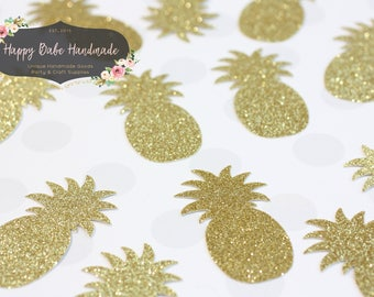 Pineapple Confetti, Pineapple Die Cut, Bridal Shower, Gold Pineapples, Luau Party, Tropical Party Decor, Hawaiian Party, Beach Party