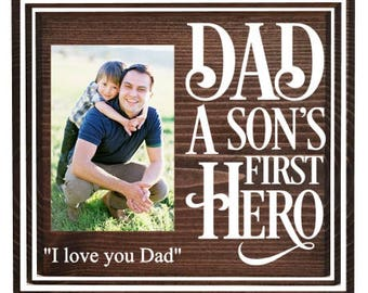 Dad and son picture frame - dad picture frame - picture frame for dad - dad and me picture frame - gifts for dad from son - son's first hero