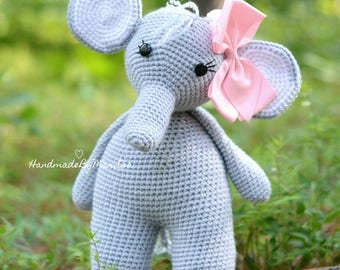 The Friendly Elephant - Elephant Plush - Elephant Stuff Animal - Crocheted Elephant - Amigurumi Elephant - Handmade Crocheted Elephant Doll