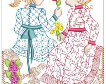 HOLLY HOBBIE best friends machine embroidery download 3 diff sizes( 3x4  5x5 5x6)