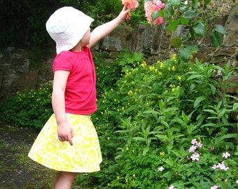 Girls yellow skirt, girls skirt, girls party skirt, girls everyday skirt, toddler skirt, girls cotton skirt, girls full skirt, skirt