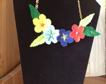 Necklace made of 3D Red, Royal Blue, Light Blue and Yellow Primroses