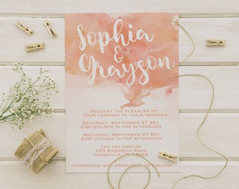 Coral Watercolor Wedding Invitations, Bohemian Wedding, Shimmer Paper, Shimmer Lined Envelope, Post Card RSVP,  PRINTED