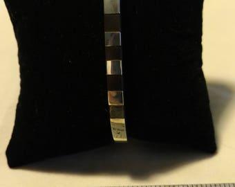 Vintage Inlaid Sterling Silver Square Bangle Bracelet