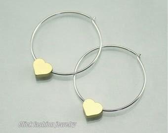 Heart earring, heart hoop earrings, gold and silver heart earring, silver and gold hoops, sterling silver hoops, heart jewelry, love gift