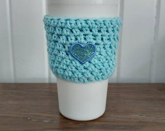 Cozy mug coffee/cup cozy with heart/Mint and Candy
