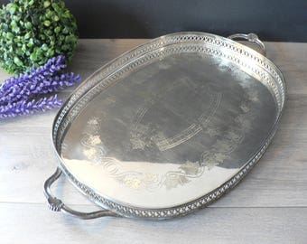 Large Vintage Silver Plated Tray Handled Oval Silver Gallery Tray   Pierced Sides Chase Design EP Brass