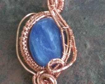 Blue Kyanite Crystal Pendant wire wrapped in Copper