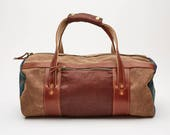 Doak Duffel Bag // Brown Waxed Canvas and Leatherhead Tartan Mens Duffel bag