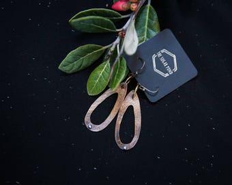 Small teardrop brass and silver earrings