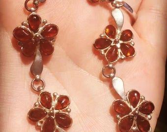 Vintage 925 Sterling Silver Amber Flower Floral Link Panel Bracelet