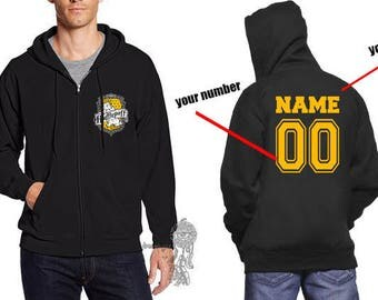 Custom Back, Huffle #2 Crest Pocket size front printed on Zipper Hoodie