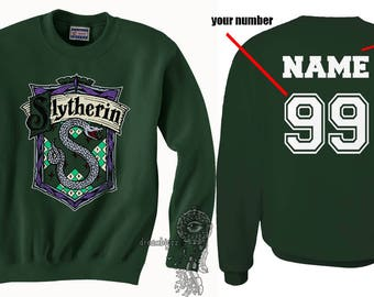 Custom on back Slyth Crest #2 Color on Forest green Crew neck Sweatshirt