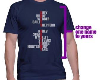 Custom Name Grey's printed on MEN tee T-shirt Navy