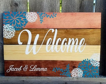 Welcome Sign - Pallet Sign - Stained Sign - Flowers - Pallet Sign - Pallet Wood - Welcome Pallet Sign - Front Porch Sign - Rustic Decor