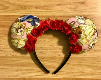 Beauty and the Beast Ears with Rose Flower Crown