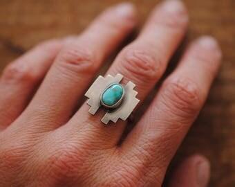 Southwestern Turquoise Ring   Size 6.5