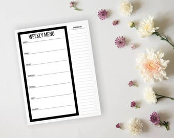 Simple Modern Black Menu Planner and Grocery List - Daily Menu Planner Sheet - Dinner Menu Planner - Meal Prep Page - Grocery List Planner