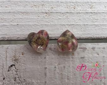 Earrings-Heard pink heather-handmade-resin/heather rose Earrings-hand made-resin