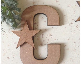 Set of 10 wooden stars raw 4.5 cm diameter approximately 3mm thick