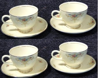 FOUR Homer Laughlin Eggshell Nautilus Rochelle Teacup Saucer Sets 4 EXCELLENT!