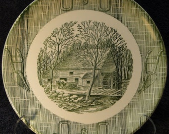 """SCIO Currier Ives Dinner Plate 9 1/4"""" Old Grist Mill Yoke Plow Green EXCELLENT!"""