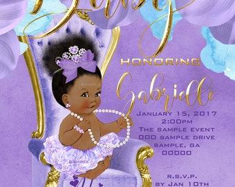 Baby Shower Invitation, Printable,057LTGP 5_bsi Aa African American Baby  Girl,