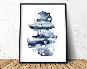 Indigo Watercolor Print, Abstract Indigo Print, Modern Minimalist, Indigo Abstract Watercolor, Minimalist Large Art, Extra Large Wall Art