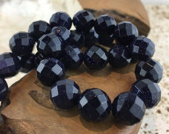 Blue Goldstone AA Faceted 12mm Beads