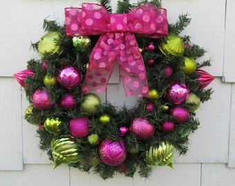 Christmas Wreath, Christmas Ornament Wreath, Pink Ornament Wreath, Green Ornament Wreath, Holiday Wreath, Evergreen Wreath