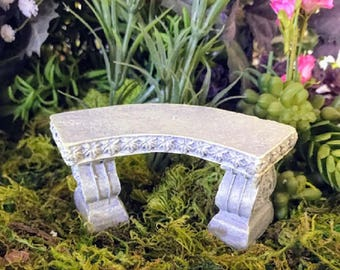 Miniature Stone Curved Bench