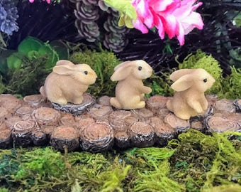 Miniature Brown Bunnies / Rabbits - Set of 3!