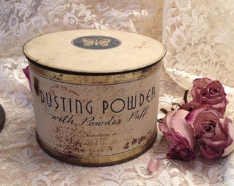 Vintage Lucretia Vanderbilt dusting powder tin