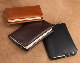 A6 notebook cover Refillable Cover Moleskine Hobonichi Planner Personalised Leather Cover
