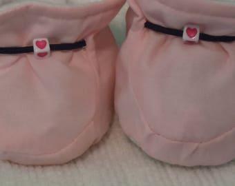 Pink, Heart, Girls Baby Booties