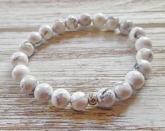 Natural White Howlite Mala Bracelet | Healing Wrist Mala | Calming Bracelets Energy Bracelets | 18K Gold or Sterling Silver I Am Enough