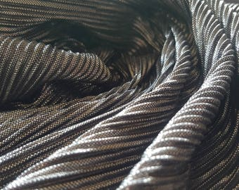 Metallic Silver and Black Shimmer Pleated Fabric - UK Seller
