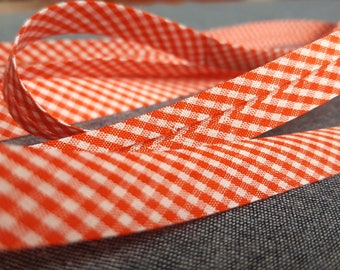 Polyester Bias Binding 15 mm - Red and White Gingham Check