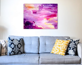 Abstract Painting on Canvas 18x24 inches - Original - Wall Art, Home Decor, Bright Decor, Purple Decor, Interiors - Free Shipping