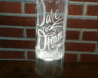 Dare to Dream Hand Engraved Water Bottle