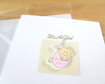 New Baby girl Card, baby girl card, baby boy card,  christening card, baby shower card, New Baby boy card, new baby girl card, Grandson