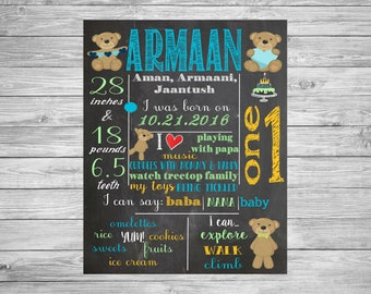 First Birthday Chalkboard/1st Birthday/First Birthday Chalkboard poster/Teddy Bear/Decorations/Printable Custom Sign/Boy